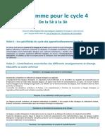 Programme Pour Le Cycle 4 LVE