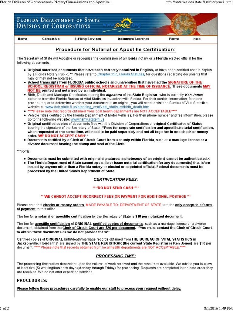 Certification Sections Notary Public Mail