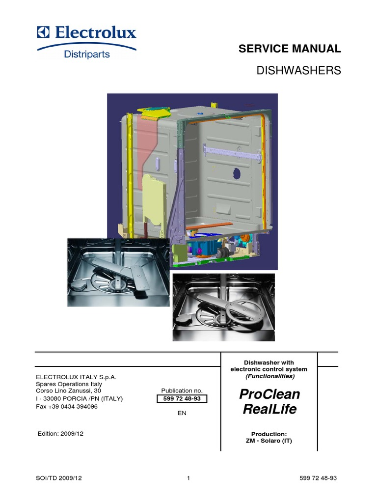 Aeg Electrolux Dishwasher Service Manual | Dishwasher | Switch