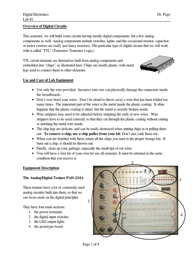 Digital Electronics Lab 01 9 Pages Electronic Circuits And Learn About Analog Circuit Electrical