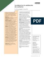 Influencia Del Clima Laboral en La Satisfacción de Los Profesionales Sanitarios