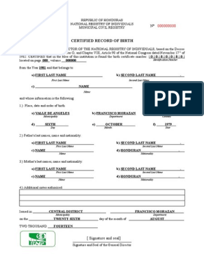 233509397 English Translation Of A Birth Certificate From