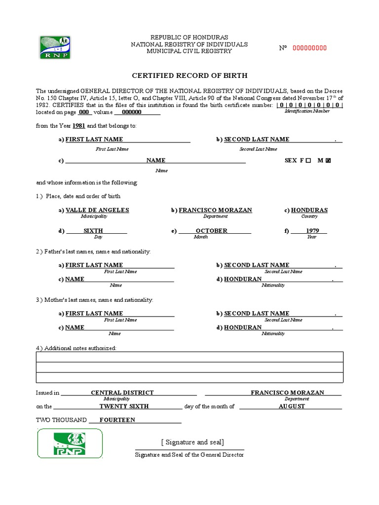 233509397 english translation of a birth certificate from honduraspdf - Translate Marriage Certificate From Spanish To English Template