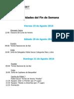 Actividades Fin de Semana 19, 20 y 21 de Agosto 2016