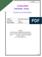 calificacion de diseño tamizador