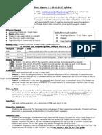 algebra syllabus 2016-17