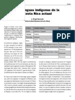 Las lenguas indígenas de la Costa Rica actual