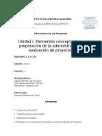 Unidad 1. Elementos Conceptuales y Preparación de La Administración y Evaluacion de Proyectos