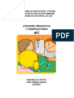 ATENCIÓN PREVENTIVA Y COMPENSATORIA APC MATERIAL DE APOYO PARA PRIMER GRADO ESPAÑOL