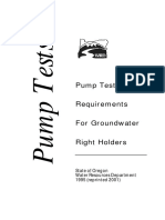 Pump Test Requirements for Ground Water