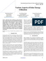 A Review of Various Aspects of Solar Energy Utilization