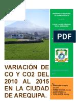 Variación de Co y Co2 Del 2010 Al 2015 en La Ciudad de Arequipa