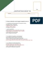 Evaluación Parcial Ciencias Naturales 7