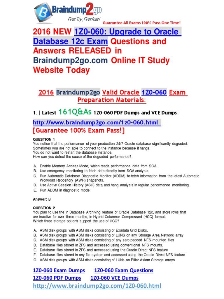 2016 Braindump2go 1Z0-060 Exam Dumps 161Q&as 1-10 | Oracle Database