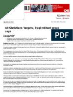 All Christians 'Targets,' Iraqi Militant Group Says - CNN.com