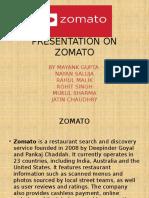 Presentation on Zomato
