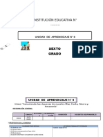 UNIDAD DE APRENDIZAJE 6° ED. PRIMARIA MES DE AGOSTO 2016