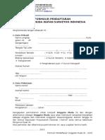 Formulir Pendaftaran Anggota Muda ISI 2015 (Khusus Non Anggota)