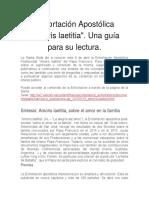 """Exhortación Apostólica """"Amoris Laetitia"""". Una Guía Para Su Lectura."""