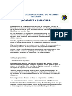 Resumen Del Reglamento de Régimen Interno Jugadores Taurons.