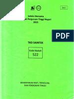 Naskah Soal SBMPTN 2015 Tes Kemampuan Dasar Sains Dan Teknologi (TKD Saintek) Kode Soal 522 by [Pak-Anang.blogspot.com]