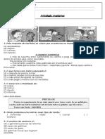 atividade avaliativa de portugues 1°Bimestre