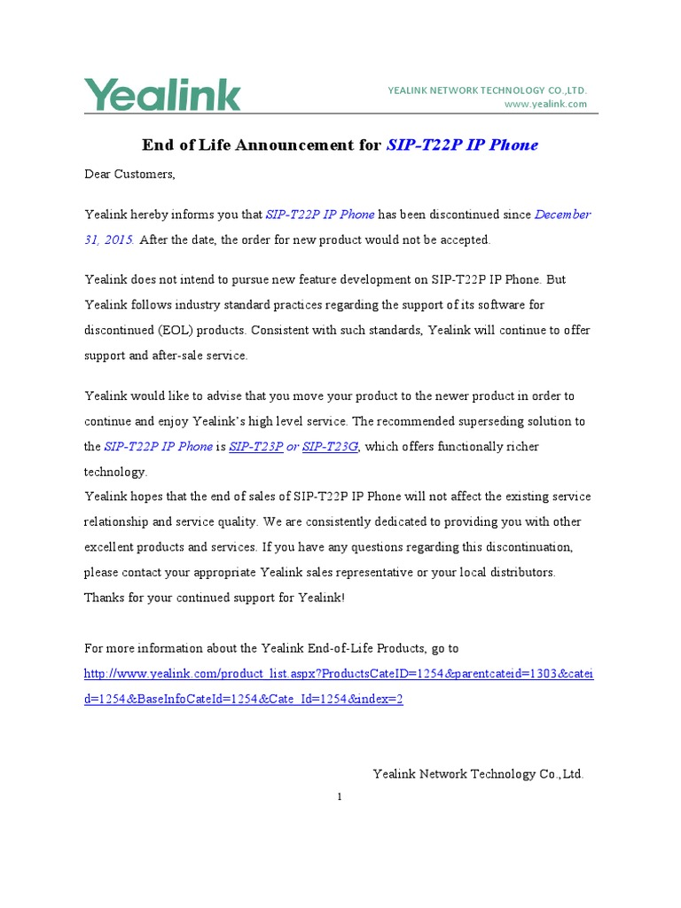 Yealink End of Life Announcement-T22P
