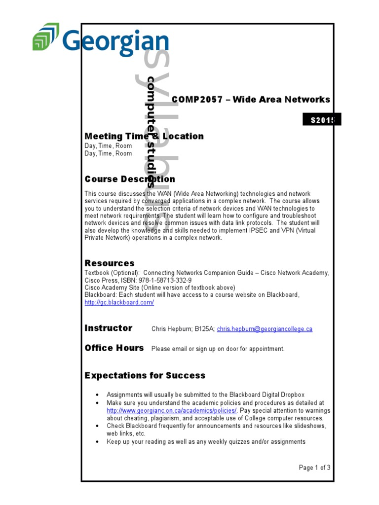 COMP2057 - Wide Area Networks - Syllabus S15 | Wide Area
