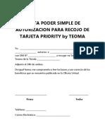 Tarjeta Priority -Carta Poder de Autorización Recojo