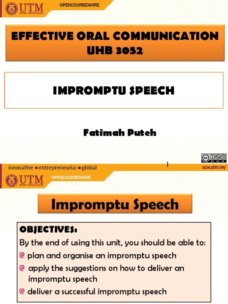example impromptu speech piece