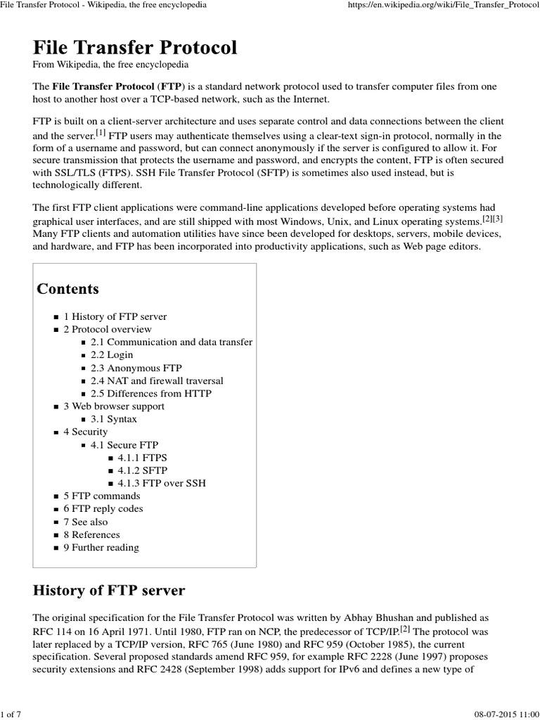 File Transfer Protocol | File Transfer Protocol | Secure Shell