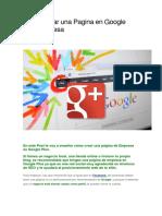 Cómo Crear Una Pagina en Google Plus Empresa