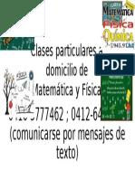 Clases Particulares a Domicilio de Matemática y Física