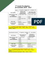 pre algebra  unit schedule 16-17