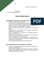 CASO HANK - Control de calidad