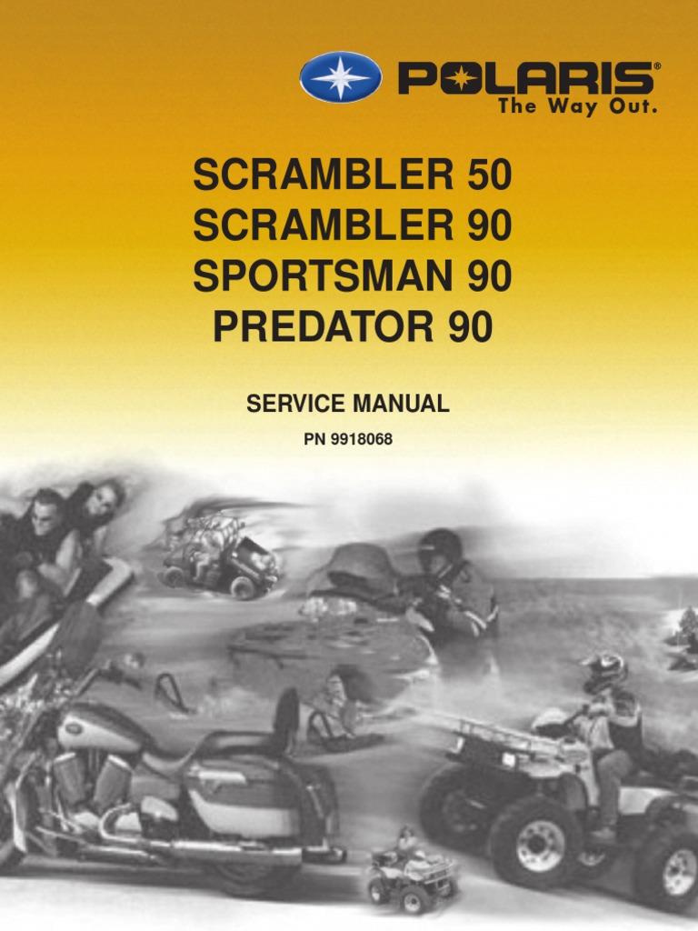 2003 polaris scrambler 50 90 sportsman 90 predator 90 service manual rh scribd com Polaris Scrambler 50 Carburetor 2002 polaris scrambler 500 manual