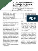 El Amauta Luis Ramón Quisocala Gonzales Fundador de Nuestra Institución Educativa
