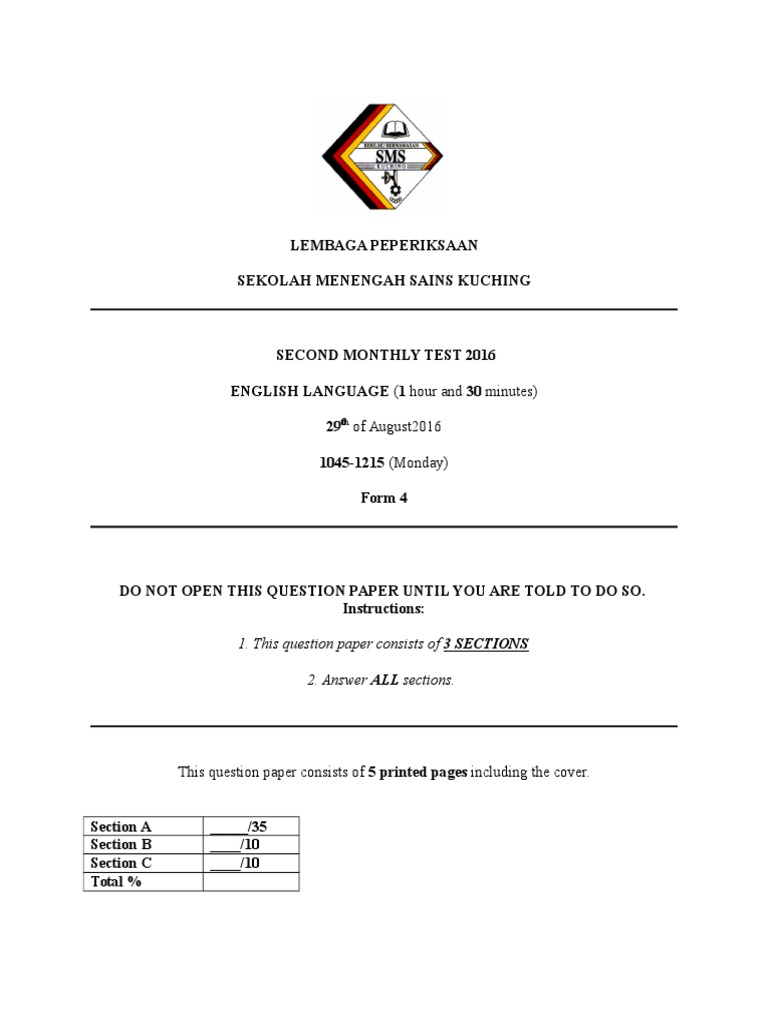 Monthly Test 2 2016 Form 2