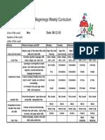 Weekly Curriculum Aug 22-26'16