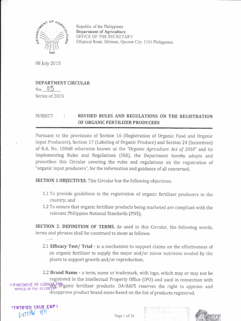 Department Circular No  05 Revised Rules and Regulations on