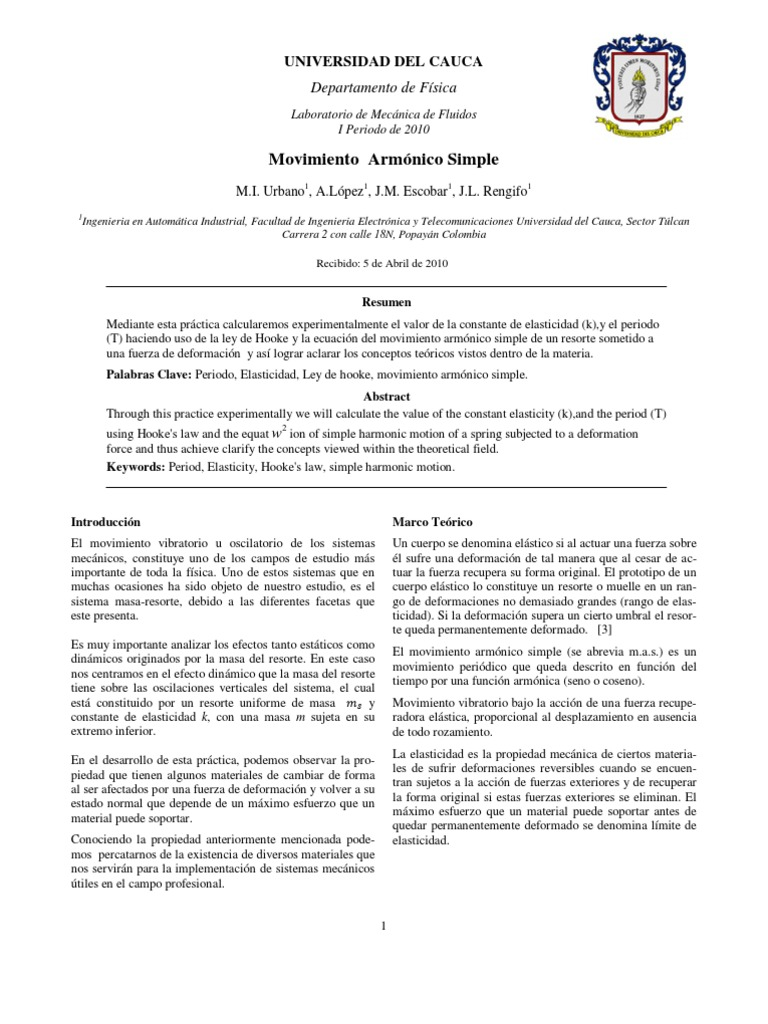 Movimiento armonico simple laboratorio