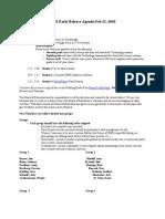 2010 02 25 Early Release Plan Agenda