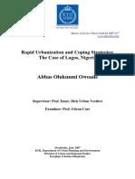 Rapid Urbanization and Coping Strategies-The Case of Lagos-Nigeria