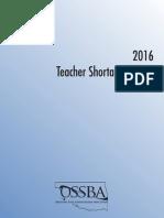 2016 OSSBA Teacher Shortage Report