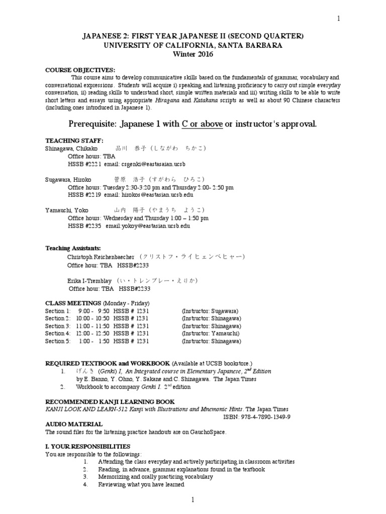 ucsb japan 2 syllabus japanese language kanji