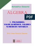 VALOR NUMÉRICO DE LOS POLINOMIOS