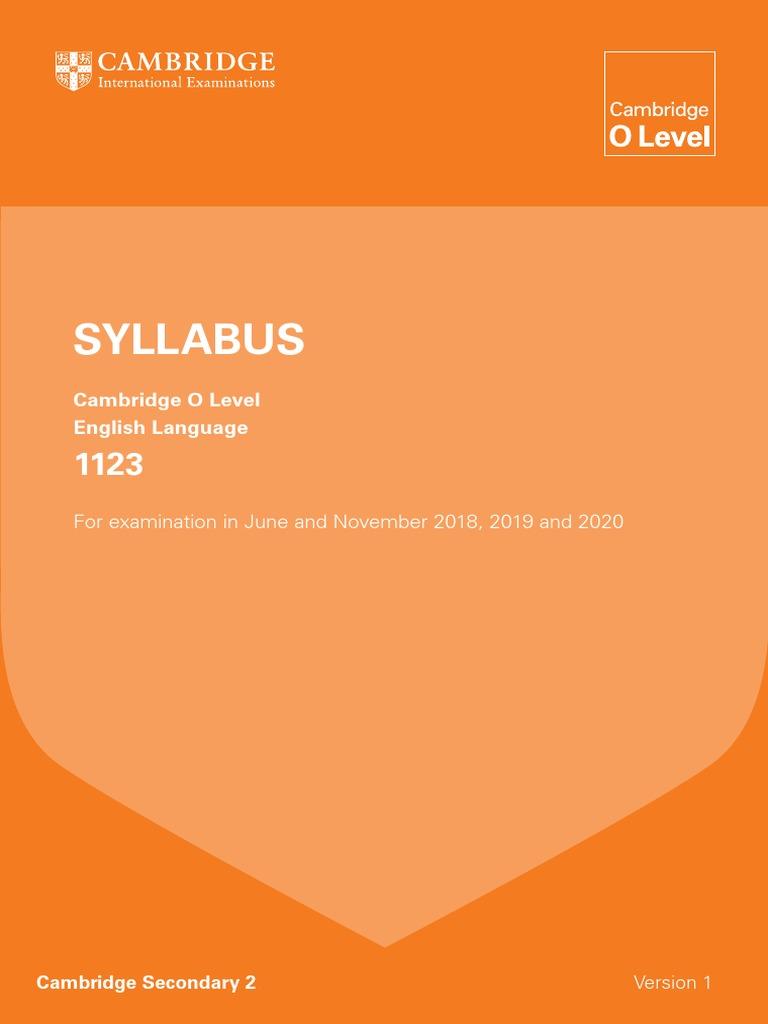 olevel-english-1123-syllabus-2018-20201 pdf | Educational