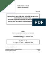 GESTION DE LA RELATION CLIENT DANS UNE ENTREPRISE DE REPARTITION PHARMACEUTIQUE