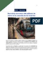 Barcelona Invertirá 100 Millones de Euros en La Conexión de Los Tranvías