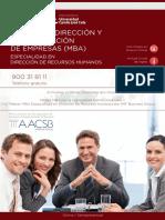 PDF Programa Curso Master Direccion Administracion Empresas Especialidad Direccion Recursos Humanos
